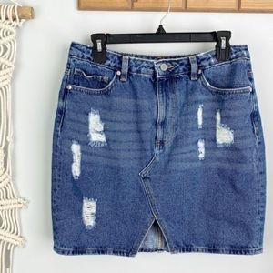 H&M | distressed denim skirt